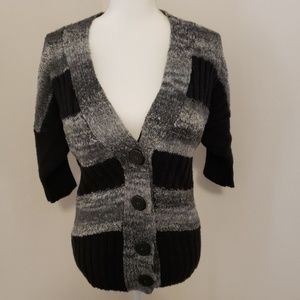 BKE Cardigan V neck Sweater Black & Grey Medium